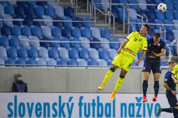 Lukáš Štetina v zápase Slovensko - Česko.