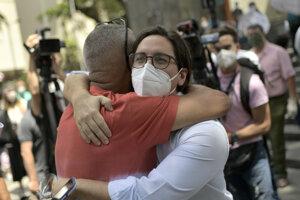Venezuelský opozičný politik Freddy Guevara po opustení čilskej ambasády.