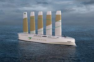 Návrh lode Oceanbird, nákladnej lode, ktorú by cez Atlantický oceán poháňal vietor.