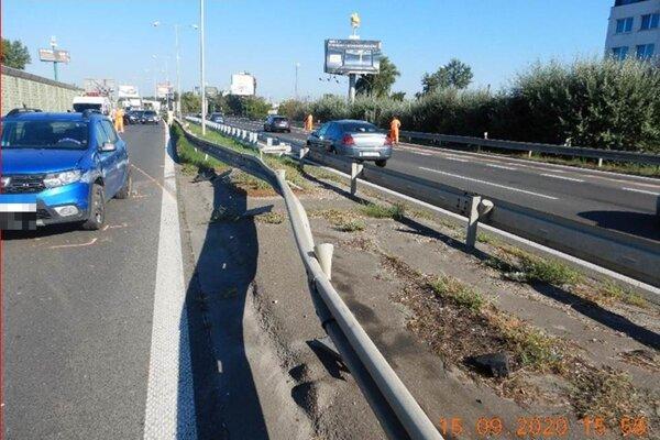 Snímka polície z miesta nehody.