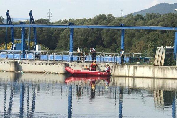 Hasiči telo dostali na breh pomocou člna a lán.