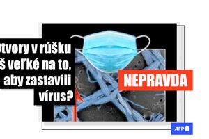 Na Facebooku sa šíril obrázok, ktorý má dokazovať, že vlákna ochranných rúšok sú príliš ďaleko od seba na to, aby efektívne zachytili vírusy.