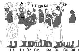 Zástup kráľovských dvoranov, na ich čele stojí veľkňaz ajk´uhu´n (f15).