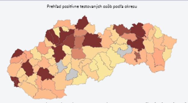 Prehľad pozitívne testovaných osôb podľa okresov (sobotňajšie prírastka).