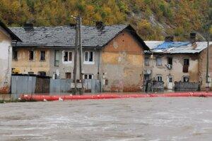 Povodeň na Hornáde v Krompachoch.
