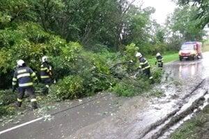Odstraňovanie spadnutého stromu v Šišove.