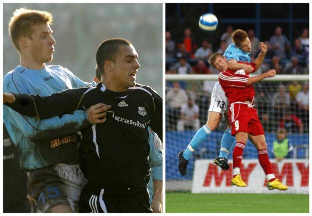 Súboje s Tomášom Janíčkom boleli. V sezóne 2007/08 to zistili aj Petržalčan Juraj Piroska (vľavo) a Zlatomoravčan Miloš Gibala.