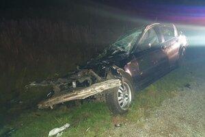 Zničené BMW po nedávnej zrážke sjeleňom.