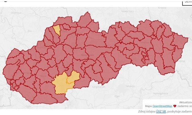 Mapa koronavírusu.