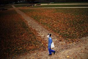 Žena s ochranným rúškom na zamedzenie šírenia nového koronavírusu kráča v parku Cinquantenaire v Bruseli.