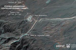 Satelitná snímka spoločnosti Planet Labs Inc. z 26. októbra 2020 ukazuje výstavbu v iránskom jadrovom zariadení Natanz.