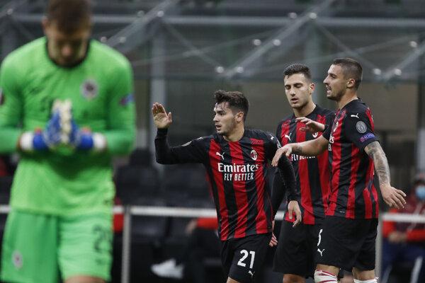 Momentka zo zápasu AC Miláno - Sparta Praha, Európska liga UEFA.