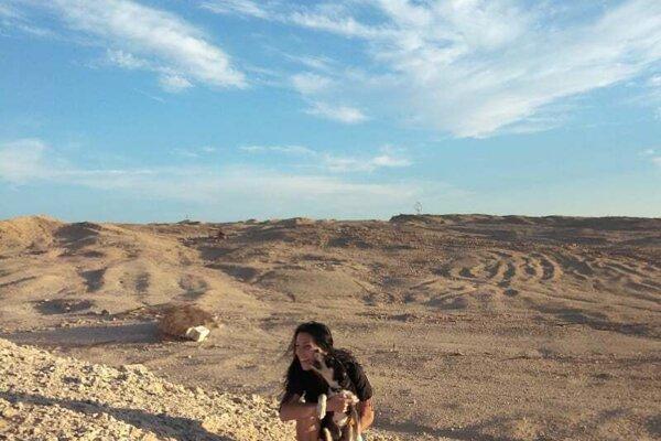 Púšť mala Michaela priamo za bytovým domom.  V Egypte prichýlila psa.