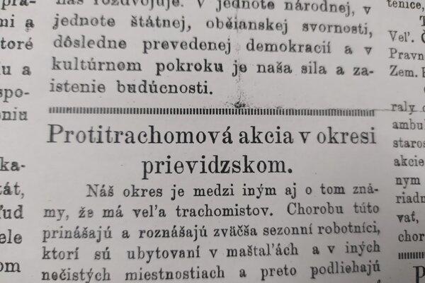 O protitrachomovej akcii písalo aj vtedajšie vydanie časopisu Náš kraj.