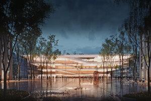 Vizualizácia možnej podoby kongresového centra v projekte Nové Lido.