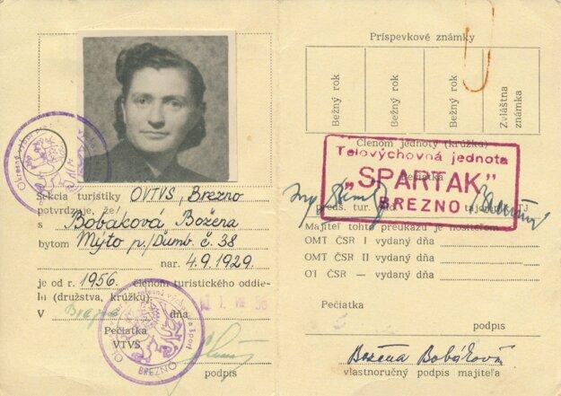 Turistický preukaz B. Bobákovej