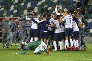 Momentka zo zápase Severné Írsko - Slovensko, baráž EURO 2020.