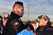 Marek Hamšík a Diego Maradona pri stretnutí v roku 2017.