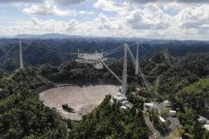 Pohľad na teleskop Arecibo v novembri 2020. Nad tanierom s dierou je stále vidno plošinu, ktorá sa neskôr zrútila z viac ako sto metrovej výšky.