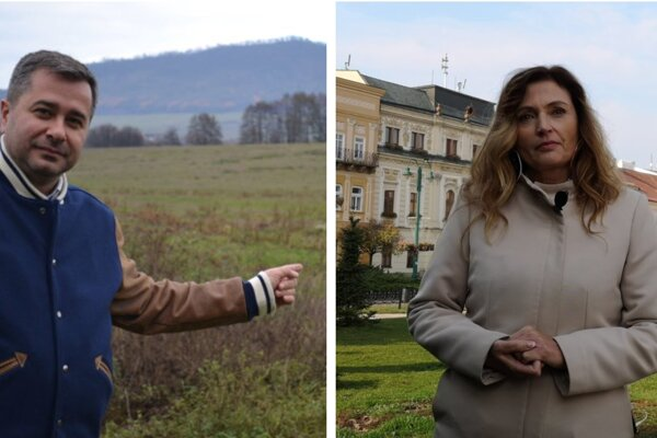 Marek Jaš na pozemku v Nižnej Šebastovej a primátorka Andrea Turčanová (KDH).