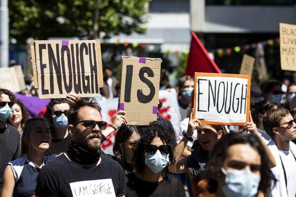 Protest v Zürichu.