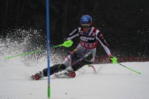 Slovenská lyžiarka Petra Vlhová počas 1. kola slalomu v Záhrebe.