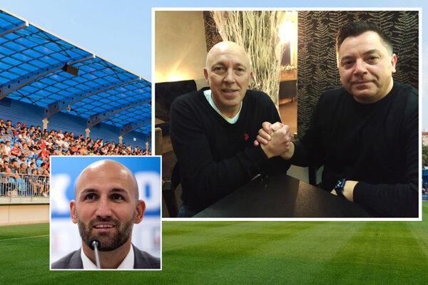 Noví šéfovia FC Nitra - Nemci Peter Hammer (vľavo) a Nik Schwarz - lákajú do vedenia klubu slovenskú futbalovú legendu Róberta Vitteka, ktorého výborne poznajú z Norimbergu.