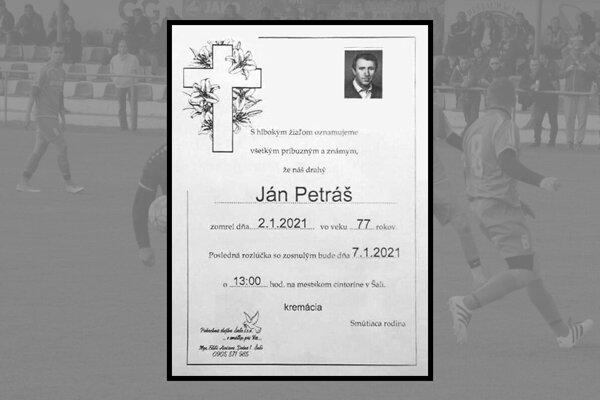 Ján Petráš zomrel 2. januára vo veku 77 rokov.