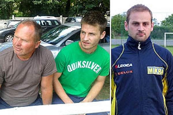 Na nedeľu sa tešia aj tréner Machuliniec Miloš Lukáč (vľavo) a kanonier Matej Novák. Hviezdy povedie Juraj Baláž z Nevidzian (vpravo).