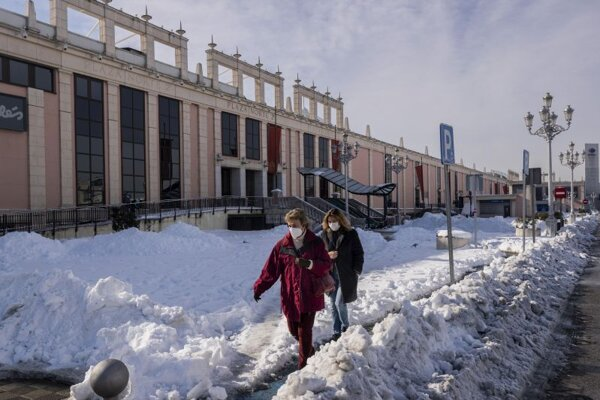 Snehová kalamita v Madride.