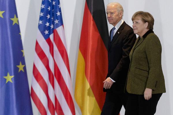 Joe Biden a nemecká kancelárka Angela Merkelová.