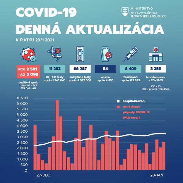 Pandemická situácia na Slovensku k piatku 29. januára 2021.
