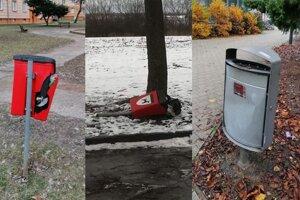 Odpadkové koše sú terčom vandalizmu.