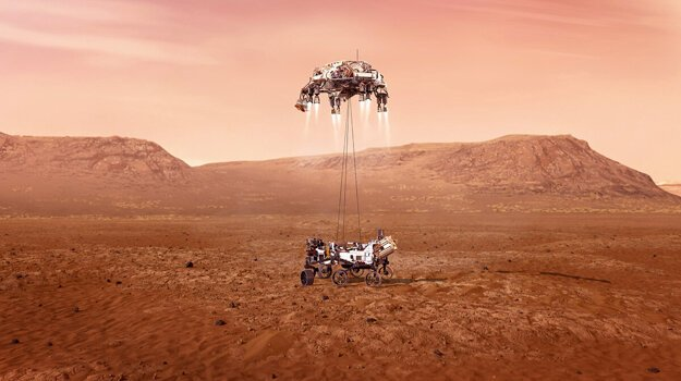 Zhruba dvanásť sekúnd pred dosadnutím pristávací stupeň spustí rover Perseverance na kábloch, až kým nedosadne na povrch. Rover následne káble pretrhne a pristávací stupeň odletí do bezpečnej vzdialenosti.