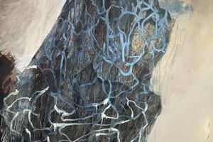 Miesto maľovania Lucie Olenovej determinovala pandémia, maľba Sinokvet vznikla v okrese, na ktorý bol obmedzený jej pohyb.