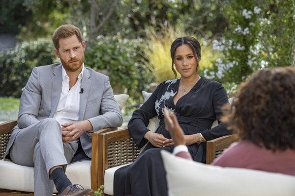Princ Harry s manželkou Meghan počas rozhovoru s Oprah Winfreyovou.