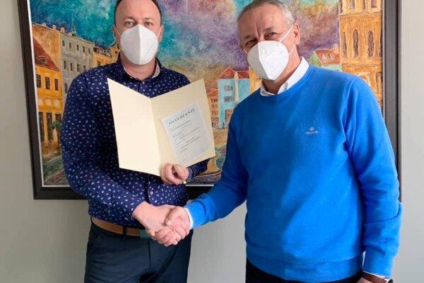 M. Ondráš s primátorom Jánom Noskom