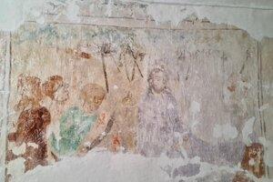 Kristus na Olivovej hore - stav nástennej maľby po odstránení vápenných náterov.