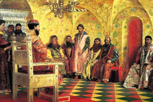 Bojarská duma pred cárom Michailom I., obraz od ruského maliara Andreja Rjabuškina.