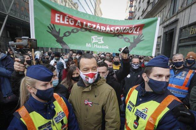 Zastavte obmedzenia! Jedna z demonštrácií v Budapešti proti reštrikciám počas pandémie koronavírusu.