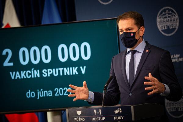 2. marec 2021. Predseda vlády SR Igor Matovič počas tlačovej konferencie k nákupu vakcíny Sputnik V.