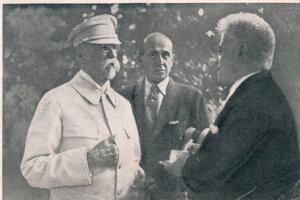 Prezident T. G. Masaryk v rozhovore s dirigentom M. Ruppeldtom.
