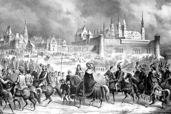 Beatrice Aragónska a Matej Korvín prichádzajú do Budy v roku 1476