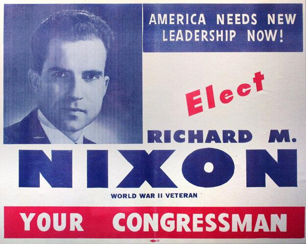 Nixonov plagát z volieb na post kongresmana v štáte Kalifornia.