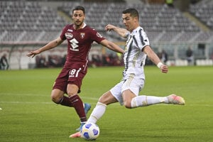 Portugalský útočník Cristiano Ronaldo v zápase proti FC Turín.
