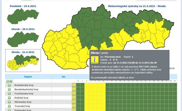 Výstrahy meteorológov na stredu 21. apríla.