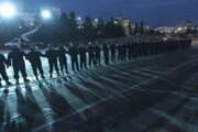 Policajný kordón v meste Ulan-Ude na východe Sibíri pri hraniciach s Mongolskom.