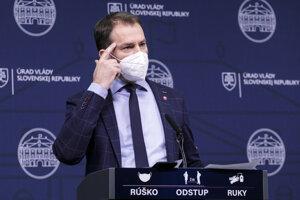 Podpredseda vlády a minister financií Igor Matovič počas tlačového brífingu na tému Sputnik V.