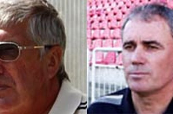 Zľava Antod Dragúň a Marián Kopčan, bývalý a súčasný tréner Galanty.