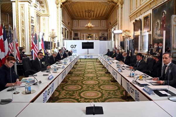 Ministri zahraničných vecí pred stretnutím šéfov diplomacií skupiny G7 v Londýne 5. mája 2021, ktoré sa koná po dvoch rokoch.